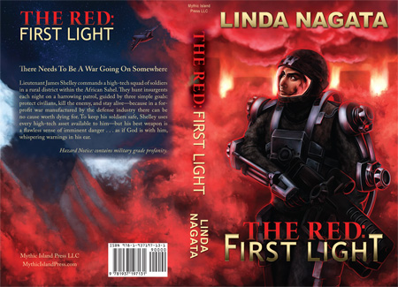 Cover flat for The Red: First Light by Linda Nagata; digital painting by Dallas Nagata White